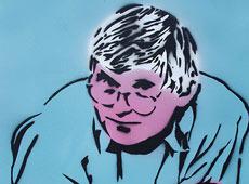 David Hockney spray painting