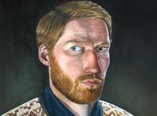 Self portrait, oils on canvas