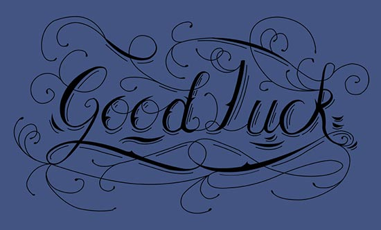 Good luck greetings card  | Pen and ink custom typography | Calligraphy hand lettering