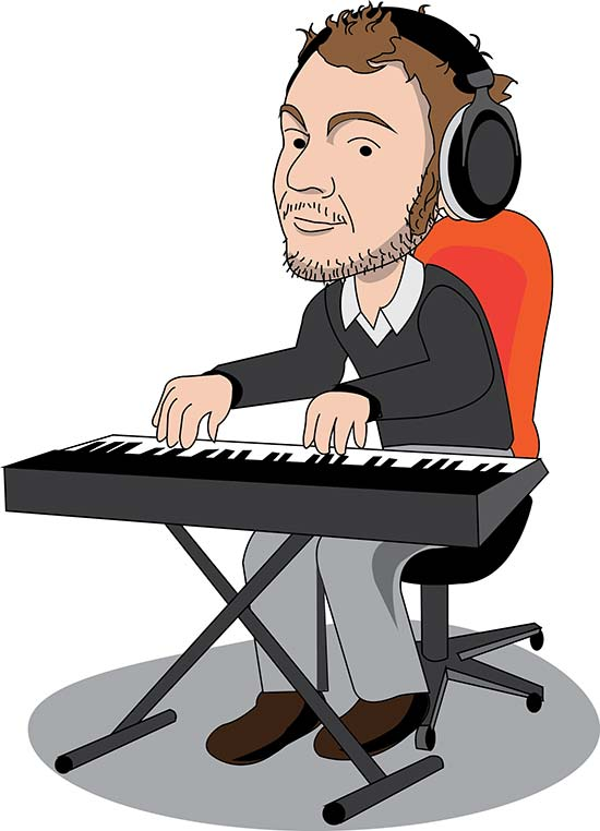 Musician cartoon character on keyboard | vector illustration for company website
