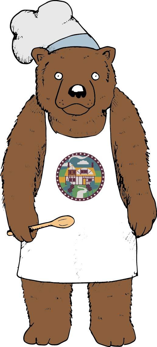Illustrated cartoon bear mascot | pen and ink illustration | Bramble Bakehouse