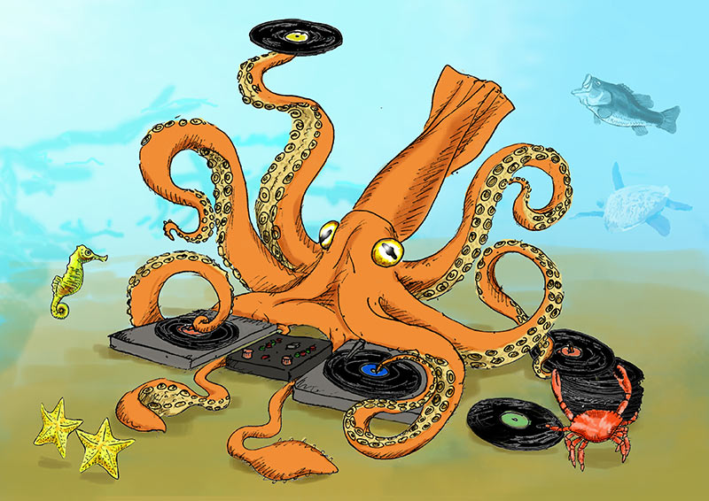 Illustrated squid cartoon DJ | Pen and ink
