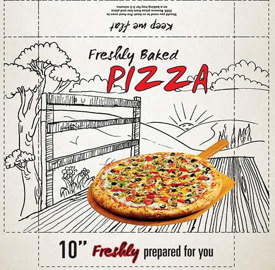 Pizza box illustration | landscape | Packaging design for ICS UK Ltd | Pen and ink