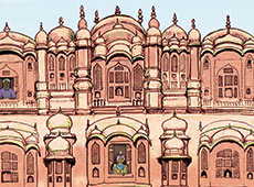 Hawa Mahal Illustration | Architecture | Indian Palace | Pen and Ink Editorial Illustration