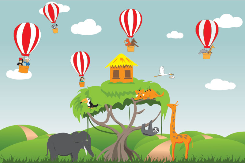 Illustrated hot air balloons in the jungle | Illustrated vector graphics for children