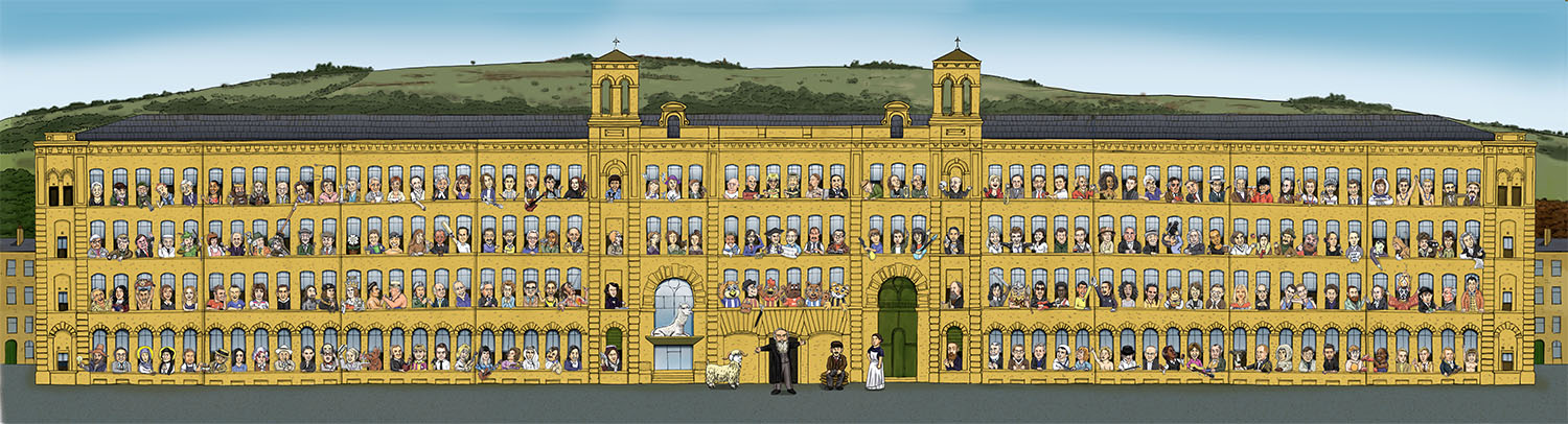 Salts Mill Illustration | Architecture | Saltaire Yorkshire characters | Pen and Ink Illustration