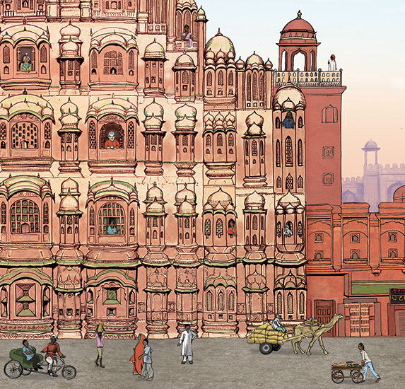 Hawa Mahal Illustration | Architecture | Indian Palace | Pen and Ink detail