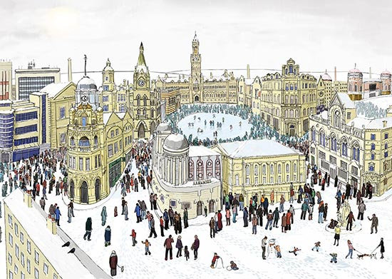 Bradford Winter Architecture | Illustrated A2 prints | Yorkshire Christmas