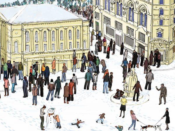 Bradford in winter illustration - St Georges Hall