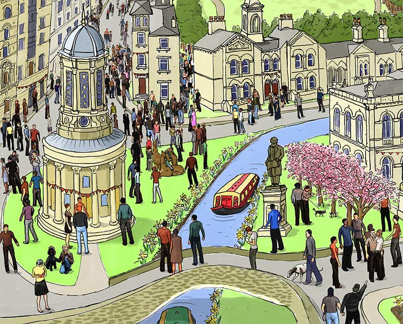 Saltaire Village Architecture | Illustrated A2 prints | Shipley, Yorkshire