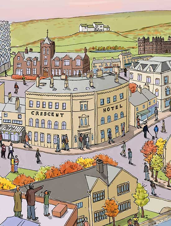 Ilkley landscape illustrated print | Autumn | architecture | Pen and ink