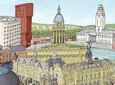 Leeds illustrated print | architecture | pen and ink | cityscape