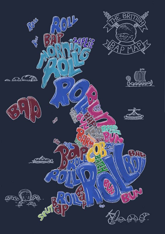 British bread map illustration - dark