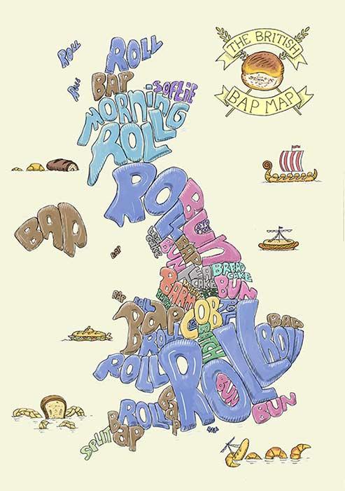 British bread map illustration - light