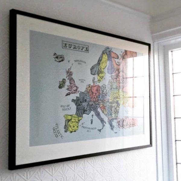 Europe map illustration framed