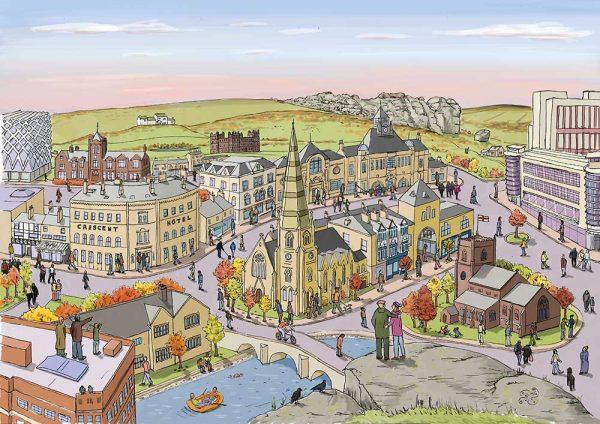 Ilkley landscape illustration