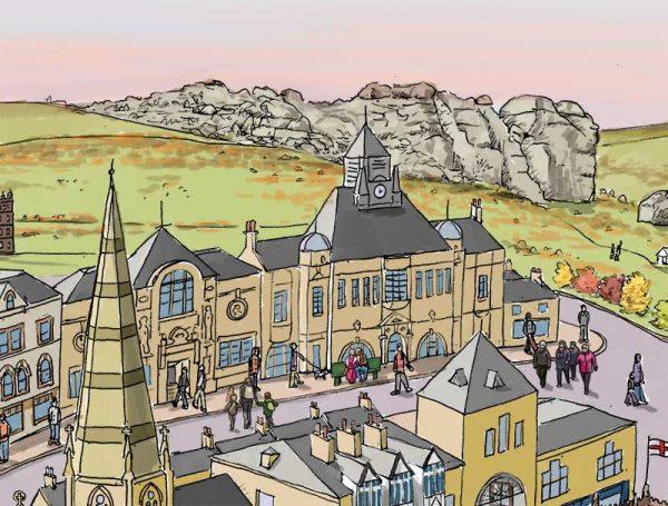 Ilkley landscape illustration - theatre