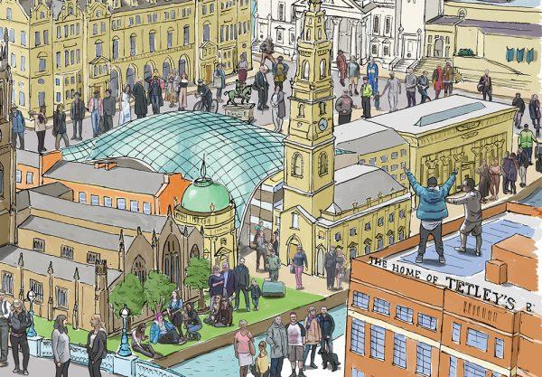 Leeds landscape illustration - Trinity