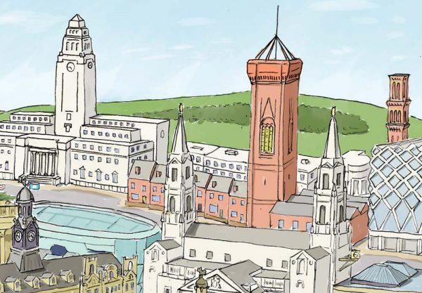 Leeds landscape illustration - Civic Hall