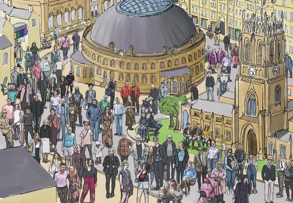 Leeds landscape illustration - Corn Exchange