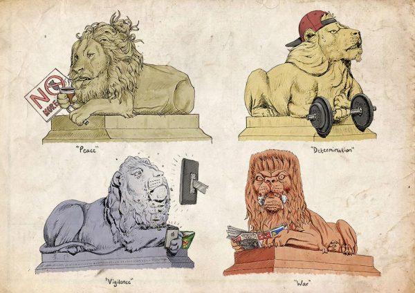 Saltaire lions illustration