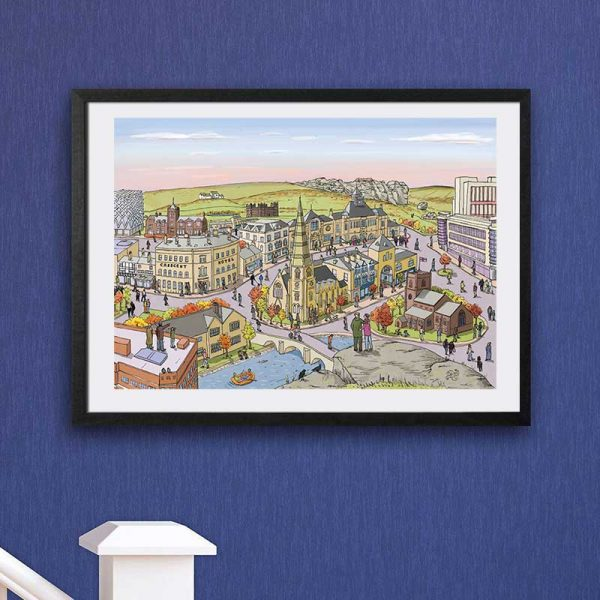 Ilkley landscape illustration framed