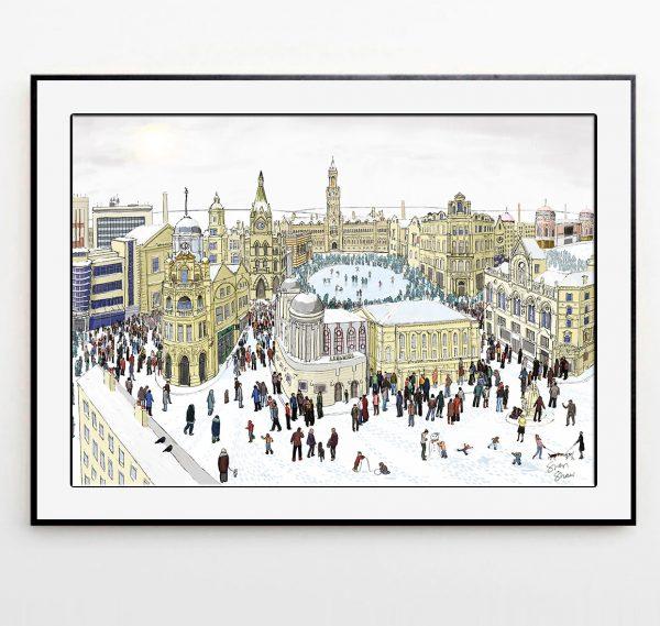 Bradford in Winter illustration framed