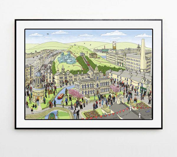 Saltaire landscape illustration framed