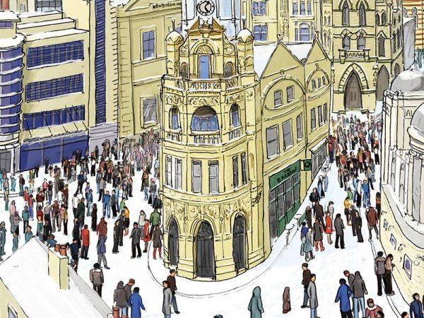 Bradford in winter illustration - Penny Bank 2